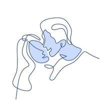 fortlaufende einzeilige Zeichnung eines glücklichen jungen Paares, das steht und Hände zusammenhält. Liebespaar Frau und Mann in romantischer Pose lokalisiert auf weißem Hintergrund. Vektor-Minimalismus-Designillustration vektor