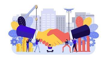 Geschäftskonzept mit Handschlag für Marketing vektor