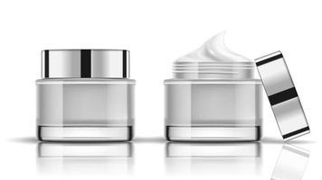 Satz weiße Kosmetikflaschen, die Modell verpacken, bereit für Ihr Design, Vektorillustration. vektor