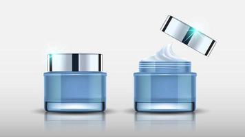 Satz von blauen Kosmetikflaschen, die Modell und Creme verpacken, bereit für Ihr Design, Vektorillustration. vektor