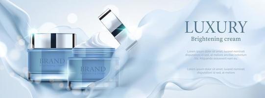 Luxusbanner kosmetische Anzeige mit Behälter mit blauem Satin auf bokeh Hintergrund, Vektorillustration. vektor
