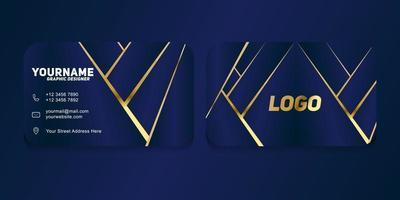 lyx och modern. vektor visitkortsmall. design mörkblå och guldfärg