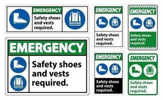 Notfallzeichen Sicherheitsschuhe und Weste erforderlich mit ppe Symbolen auf weißem Hintergrund, Vektorillustration vektor