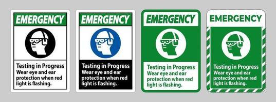 pågående nödteststest, använd ögon- och hörselskydd när rött ljus blinkar
