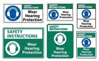 säkerhetsinstruktioner bär hörselskyddstecken på vit bakgrund