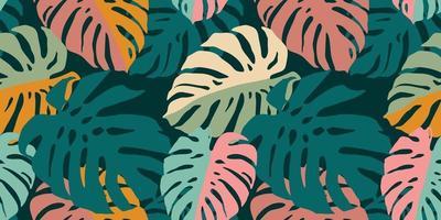 tropiskt sömlöst mönster med abstrakta blad. modern design vektor