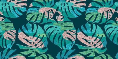 tropisches nahtloses Muster mit abstrakten Blättern. modernes Design vektor