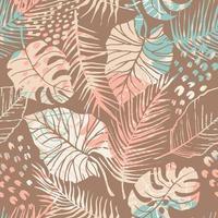 tropiskt sömlöst mönster med abstrakta blad. modern design f vektor