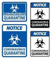 varsel koronavirus karantän tecken isolera på vit bakgrund, vektorillustration eps.10