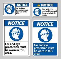 märkskylt öron- och ögonskydd måste bäras i detta område vektor