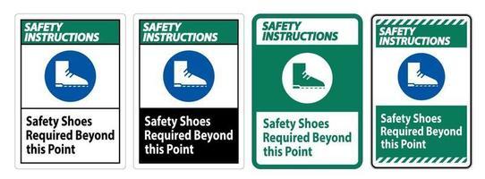 säkerhetsinstruktioner underteckna säkerhetsskor som krävs utöver denna punkt vektor
