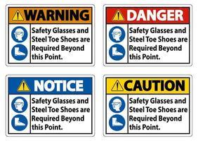 skyddsglasögon och tåskor av stål krävs utöver denna punkt