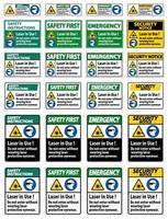 Warnung ppe Sicherheitsetikett, Laser in Gebrauch nicht ohne Laserschutzbrille eintreten vektor