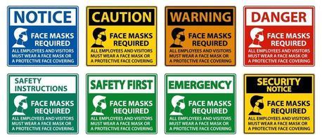 Gesichtsmasken erforderlich Zeichen auf weißem Hintergrund vektor
