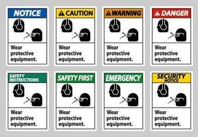 bära skyddsutrustning med skyddsglasögon och glasögon