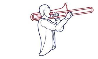 grafischer Vektor des Posaunenmusikerorchesterinstruments