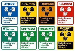Använd skyddsutrustning i detta område med PPE-symboler vektor