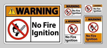 Warnung kein Feuer Zündsymbol Zeichen auf weißem Hintergrund