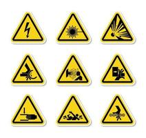dreieckige Warnsymboletiketten auf weißem Hintergrund vektor