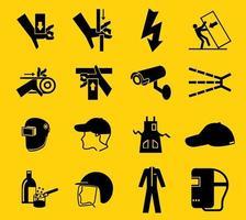 varningstecken, industriella faror ikonetiketter tecken isolerad på vit bakgrund, vektorillustration