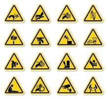varningsfara symboler etiketter tecken isolera på vit bakgrund, vektorillustration