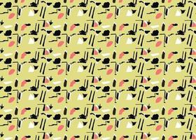handritad, gul, svart, röd, vit färg formar sömlösa mönster vektor
