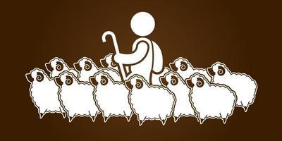 Hirte und Schaf vektor