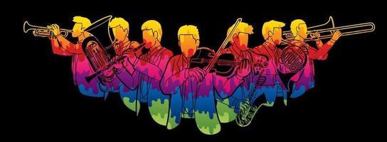 grupp musikerorkesterinstrument