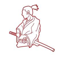 samurai-krigare redo att slåss vektor