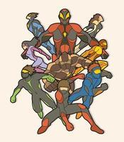 grupp av superhjältar action vektor