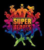 grupp av superhjältar handling med text superhjältar vektor