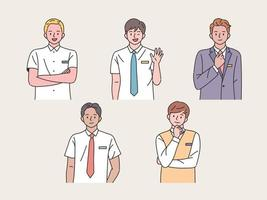 studentkaraktär. pojkar gör olika gester. vektor