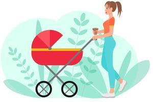 kvinnan går med en barnvagn. vektor