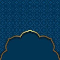 islamischer Stil. dunkelblauer Hintergrund. arabischer traditioneller orientalischer Zierhintergrund mit Goldrahmen vektor