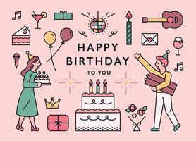 Geburtstagskarte mit Symbolen und Paarcharakter. vektor