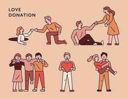 uppsättning människor som hjälper varandra