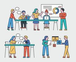Business Teamwork Menschen eingestellt. vektor