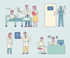 Ärzte, die sich um Patienten kümmern, Operationen durchführen und Patienten behandeln vektor