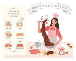 gör en alla hjärtans dag choklad present banner vektor