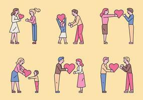 människor som delar kärleksuppsättning