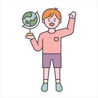 en söt pojke hälsar med en jordglob i handen. platt designstil minimal vektorillustration.