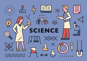 Wissenschaftsbanner mit Symbolen und Wissenschaftlern vektor