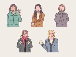 samling av unga kvinnor med vinterkläder vektor