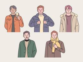 samling av unga män med vinterkläder vektor