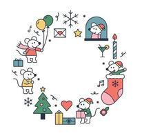 süße weiße Ratte und Weihnachten vektor