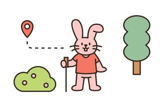 en kanin som vandrar i skogen. platt designstil minimal vektorillustration. vektor