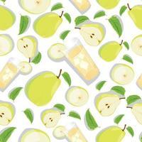 nahtloses Muster mit gelber Birne und Birnenscheibe. Obsthintergrund. Vektordruck für Stoff und Tapete. vektor