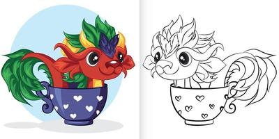 söt röd drake i kopp. målarbok för förskolebarn. vektor