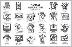 digitales Marketing-Symbolsatz für Website, Dokument, Plakatgestaltung, Druck, Anwendung. Umrissstil des Symbols des digitalen Marketingkonzepts.