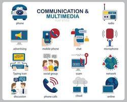 Kommunikations-Multimedia-Icon-Set für Website, Dokument, Poster-Design, Druck, Anwendung. Kommunikationskonzeptikone flacher Stil. vektor